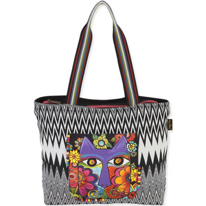 Blossoming Feline Shoulder Tote Bag by Laurel Burch