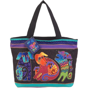 Dogs & Doggies Shoulder Tote Zipper Bag by Laurel Burch