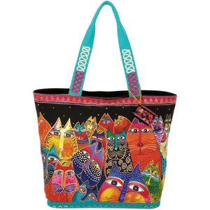 Fantasticats Shoulder Tote Zipper Bag by Laurel Burch