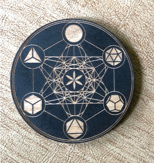 Painted Metatron's Cube Birch Magnet
