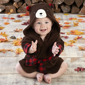 Beary Bundled Brown and Red Hooded Baby Spa Bathrobe