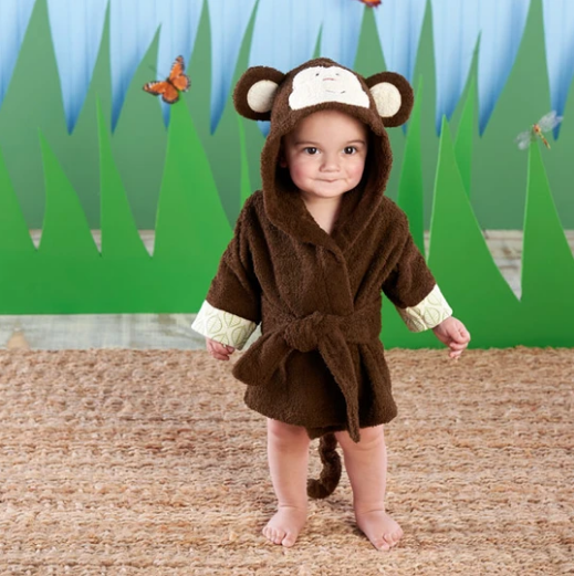 Born to be Wild Monkey Hooded Baby Spa Bathrobe