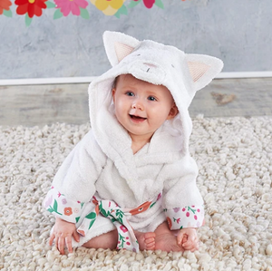 Purrfectly Adorable Cat Hooded Baby Spa Bathrobe