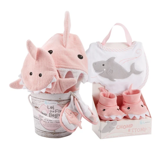 Pink Shark Baby 6-Piece Gift Set Bundle