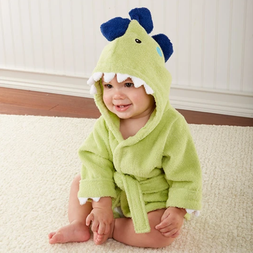 Splash-a-saurus Rex Dinosaur Hooded Baby Spa Bathrobe