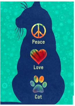 Peace Love Cat Greeting Card (blank inside)