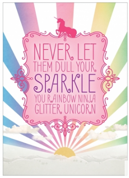 Rainbow Ninja Glitter Unicorn Greeting Card (inside blank)