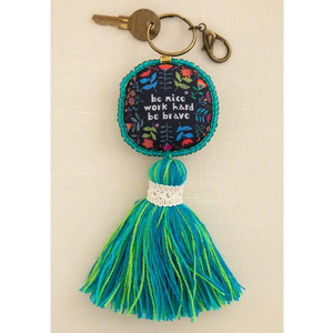 Be Nice Work Hard Be Brave Mantra Beaded Tassel Keychain