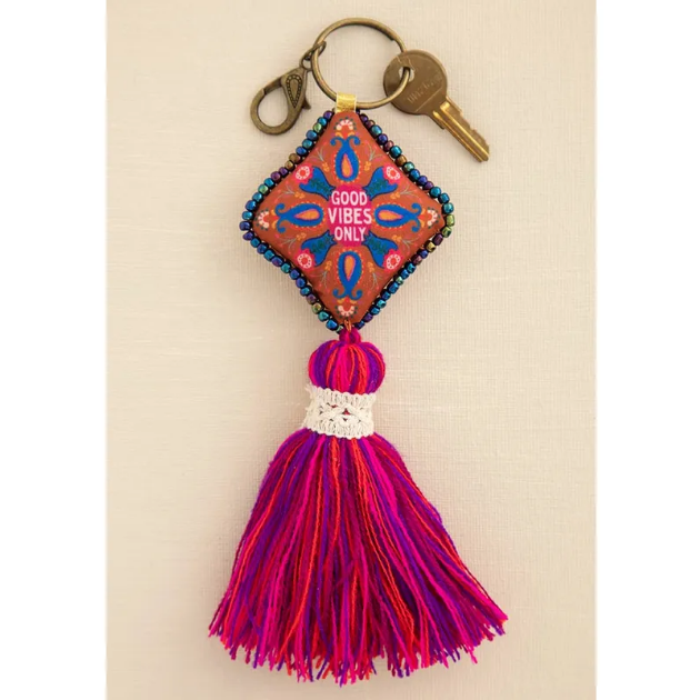 Good Vibes Only Mantra Beaded Tassel Keychain