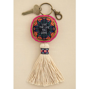Live the Life You Love Mantra Beaded Tassel Keychain