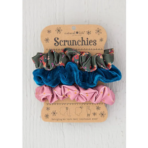 Olive Floral Hair Scrunchie Set