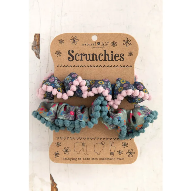 Pom Pom Hair Scrunchie Blue Ditsy/Sage