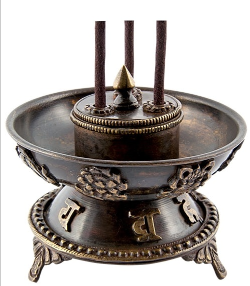 "Tibetan Copper Incense Burner 3.5""H, 4""D"