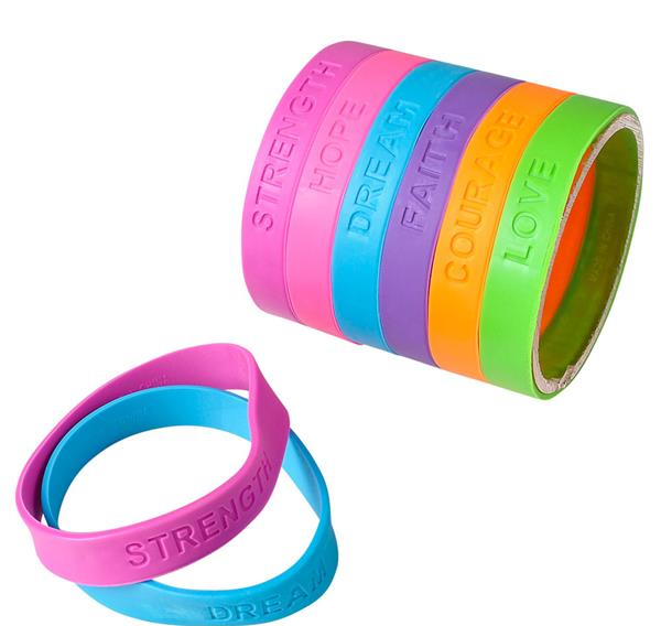 12 Inspirational Rubber Bracelets (+ shipping)