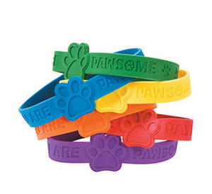 Paw Print Pawsome Sayings Rubber Bracelets
