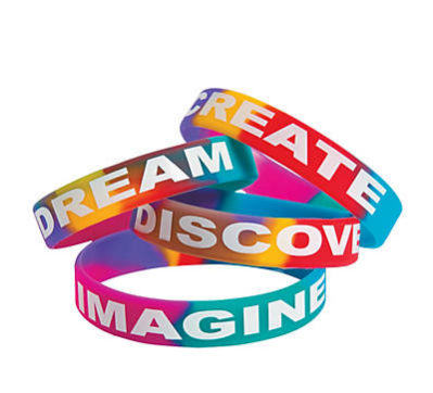 Inspirational Sayings Bright Watercolor Rubber Bracelets
