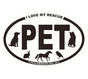 Free I Love My Rescue Pet Mini Oval Sticker (free shipping)