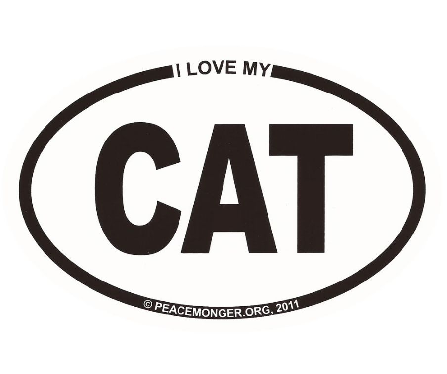 Free I Love My CAT Mini Oval Sticker (free shipping)