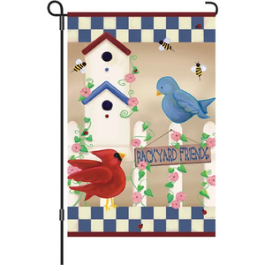 "Backyard Friends Birdhouse 12"" Garden Flag"