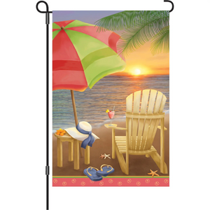 "Beach at Sunset 12"" Garden Flag"