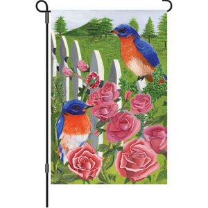 "Bluebirds and Roses 12"" Garden Flag"
