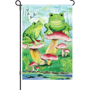 "Frogs and Mushrooms in the Wood 12"" Garden Flag"