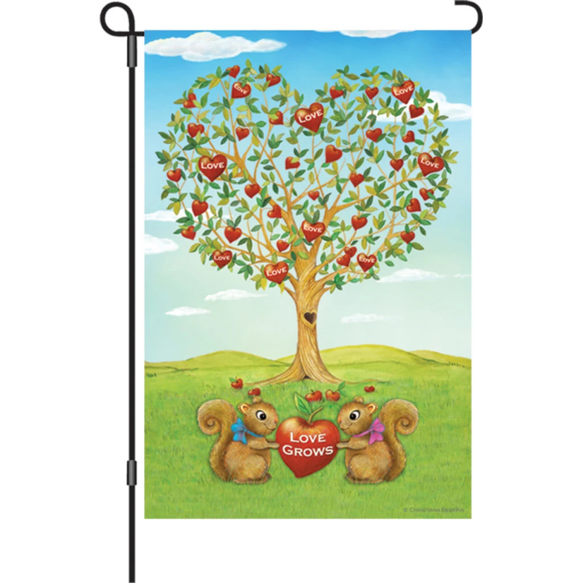 "Squirrels Love Grows Tree 12"" Garden Flag"