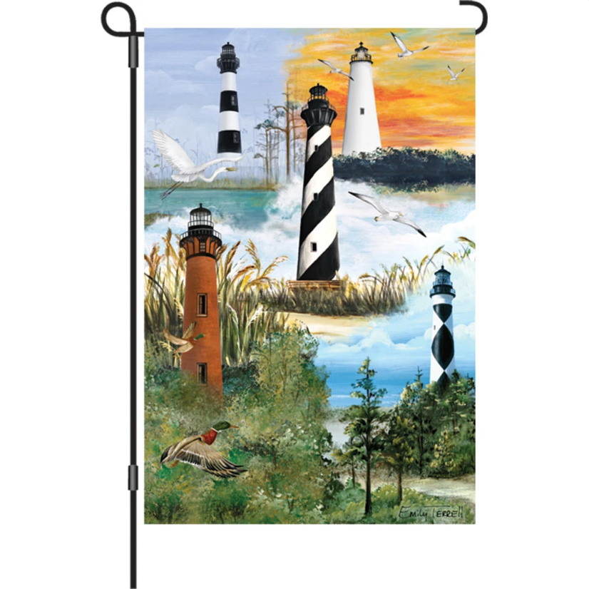 "Outer Banks Lighthouses 12"" Garden Flag"