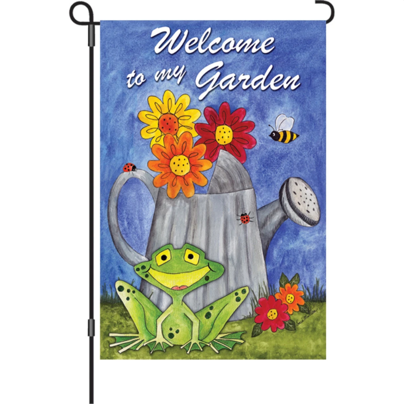 "Welcome to My Garden Frog 12"" Garden Flag"