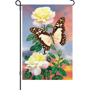 "White Lady Swallowtail Butterfly 12"" Garden Flag"