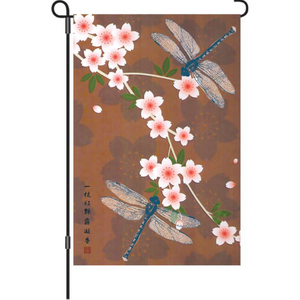 "Dragonflies and Cherry Blossoms Meditation 12"" Garden Flag"