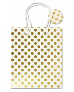 "Gold Dots Gift Bag (8.5"" x 10"" x 3.88"")"