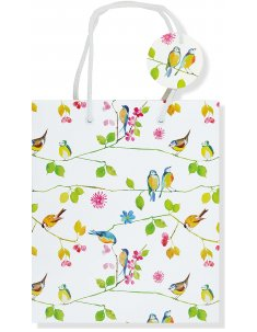 "Watercolor Birds Gift Bag (8.5"" x 10"" x 3.88"")"