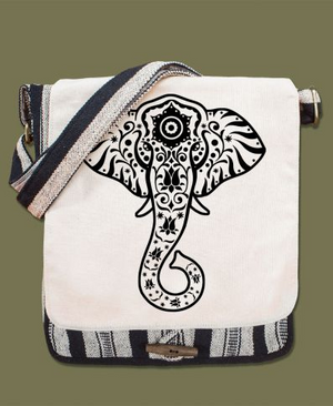 Elephant Vibes Canvas Messenger Bag