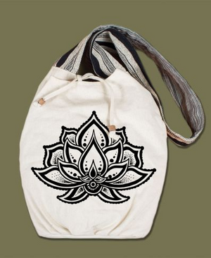 Lotus Flower Canvas Boho Bag