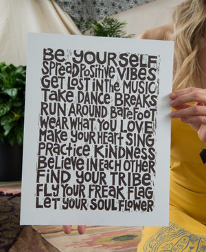 Let your Soul Flower Positive Vibes Manifesto Art Print by Soul Flower