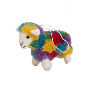 Colorful Sheep Ornament Handcrafted in Nepal
