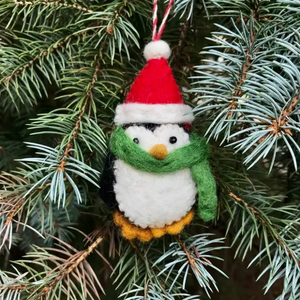 Holiday Penguin Hand-Felted Wool Ornament Handcrafted in Nepal