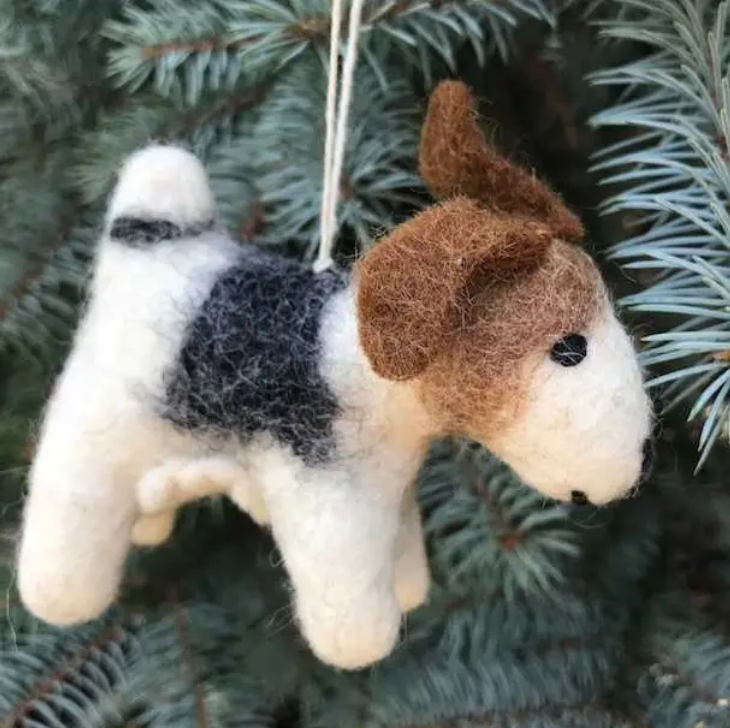 Puppy Dog Hand-Felted Wool Ornament Handcrafted in Nepal