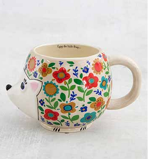 Floral Hedgehog Folk Art Mug