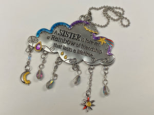 A Sister Is Forever, A Rainbow Of Friendship That Lasts A Lifetime Cloud Car Charm
