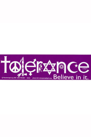 TOLERANCE Bumper Sticker - Multifaith Interfaith Vinyl Decal