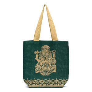 Metallic Ganesha Jute Tote Handcrafted in India