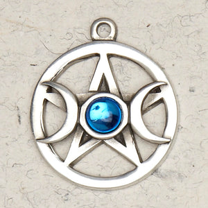 Moon & Stars Pentacle ~ Pewter Necklace ~ Wicca, The Wiccan Collection