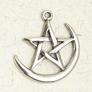 Pentacle on Crescent Moon ~ Pewter Necklace ~ Wicca, The Wiccan Collection