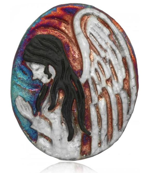 Angel Medallion Magnet from Raku Pottery