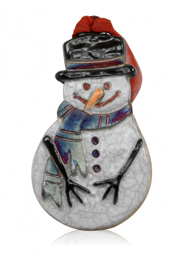 Snowman Holiday Ornament from Raku Pottery