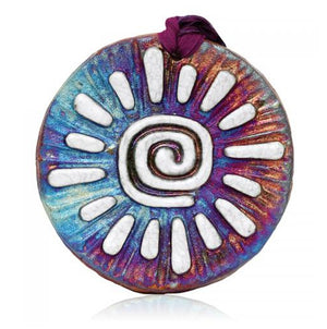 Sun Medallion Ornament from Raku Pottery