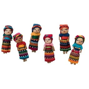 Hand Embroidered Guatemalan Worry Dolls (set of 6)
