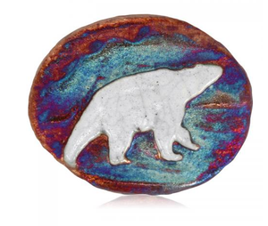Bear Medallion Magnet from Raku Pottery